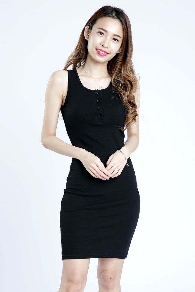 PREORDER - OWEN BODYCON DRESS IN BLACK