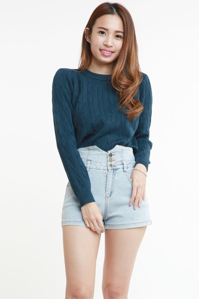 SG IN STOCK -  ROISE KNIT LONG SLEEVE TOP IN BLUE