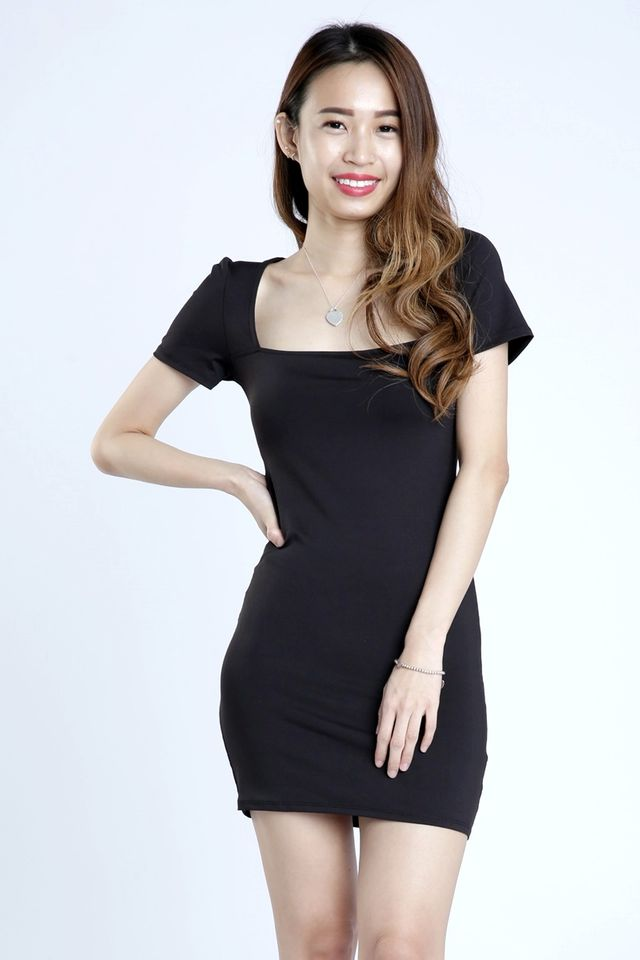 IN STOCK - JANKO SQUARE NECK DRESS IN BLACK