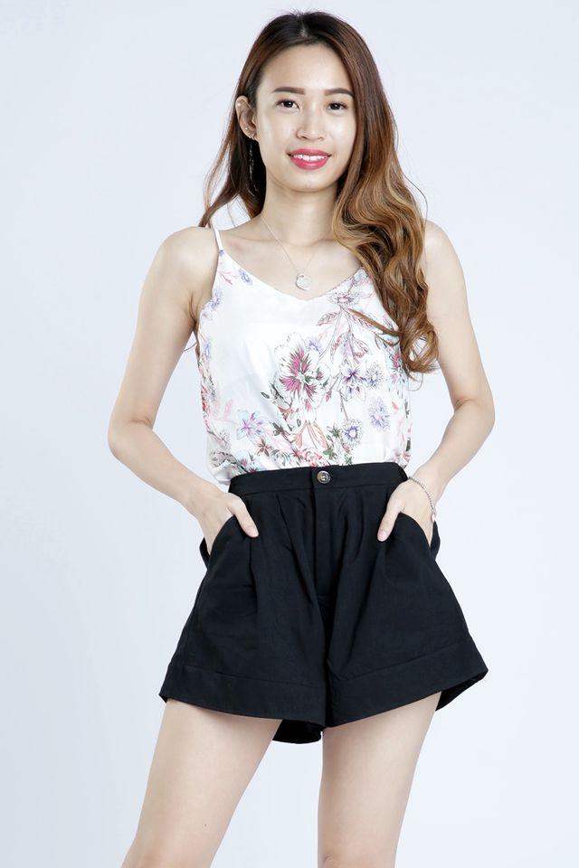 SG IN STOCK - IRWIN FLORAL PRINTED SPAG TOP IN WHITE