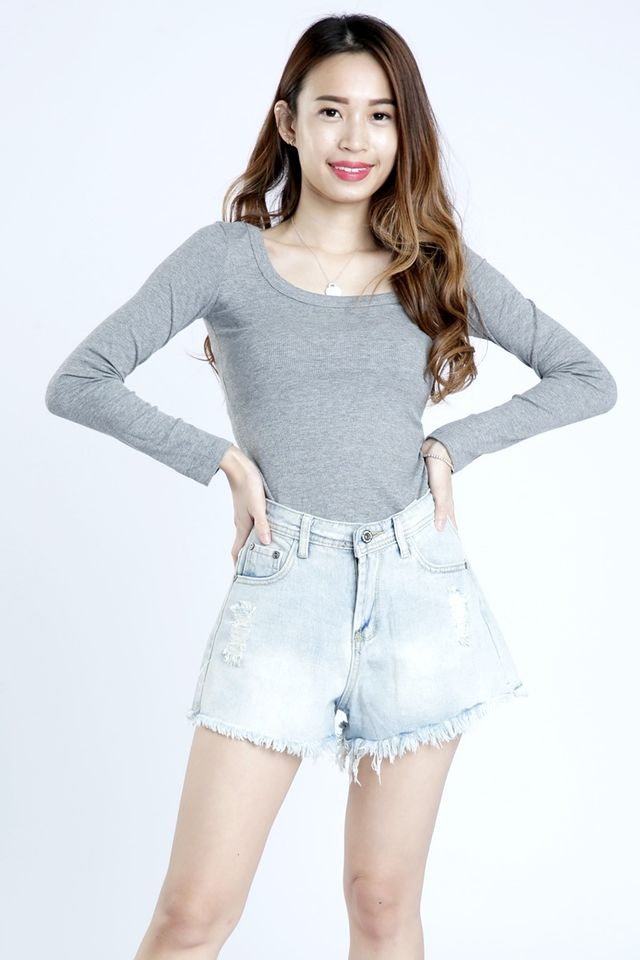 SG IN STOCK - CASPER LONG SLEEVE BASIC TOP IN GREY