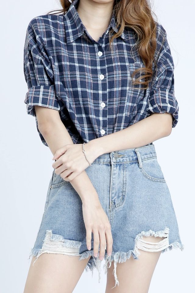 PREORDER - MEGAN CHECKERED BLOUSE IN BLUE
