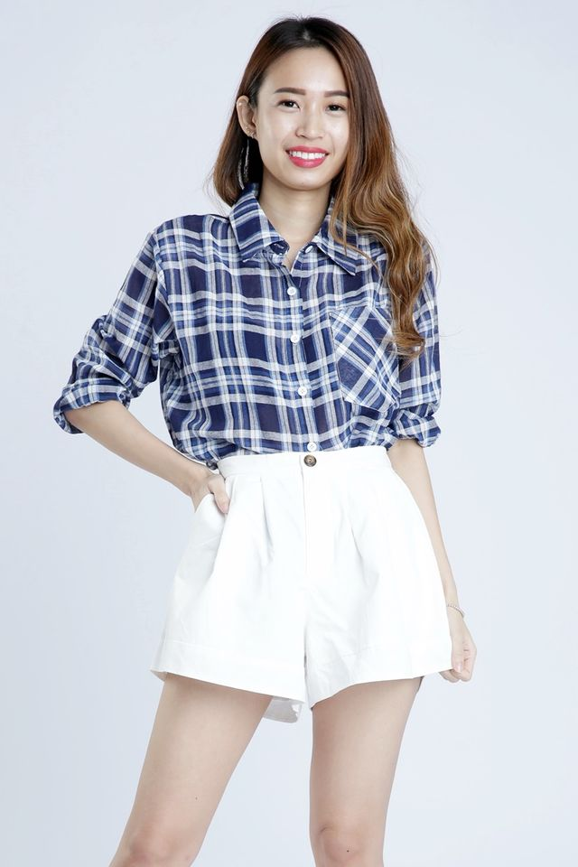 SG IN STOCK - ZACHARY BLOUSE IN BLUE CHECKERED