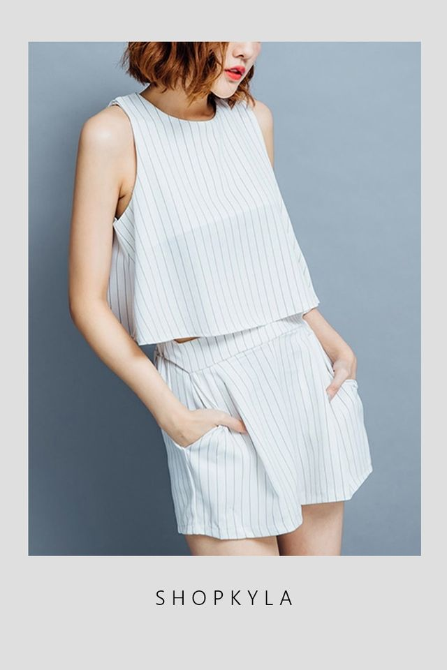 PREORDER - BRAZE STRIPES TOP SET IN WHITE