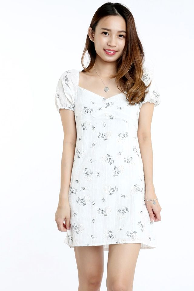 PREORDER  -BUNNY FLORAL DRESS IN WHITE