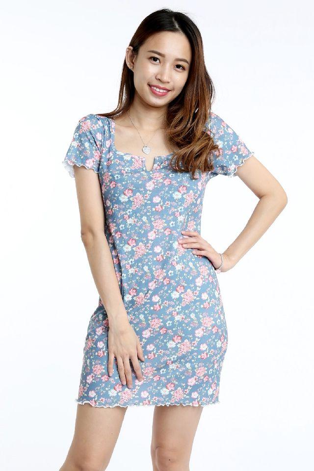 SG IN SG STOCK - ALLURA FLORAL DRESS IN BLUE