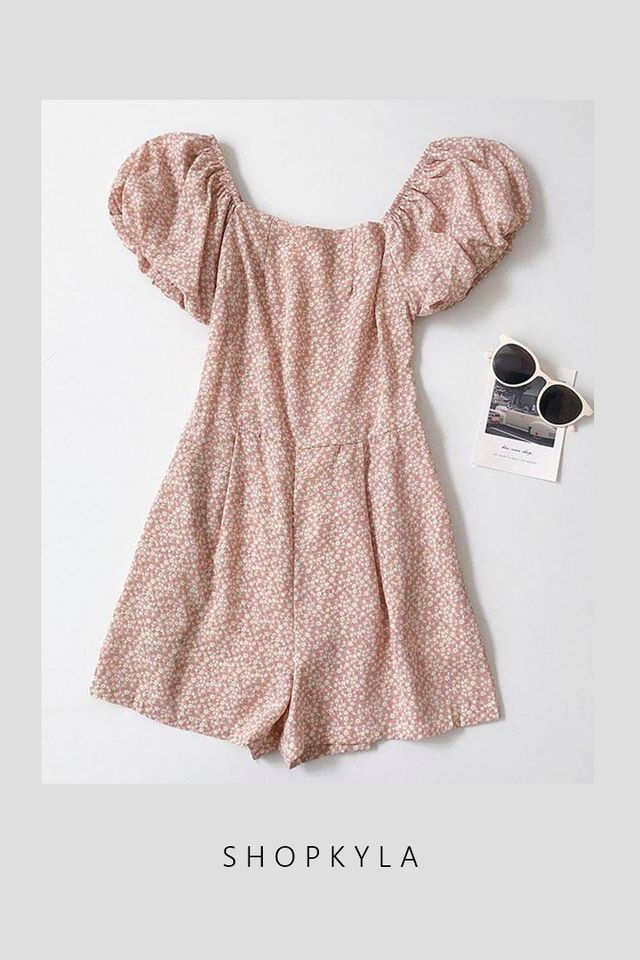 PREORDER - MISTY PUFF SLEEVE ROMPER IN PINK