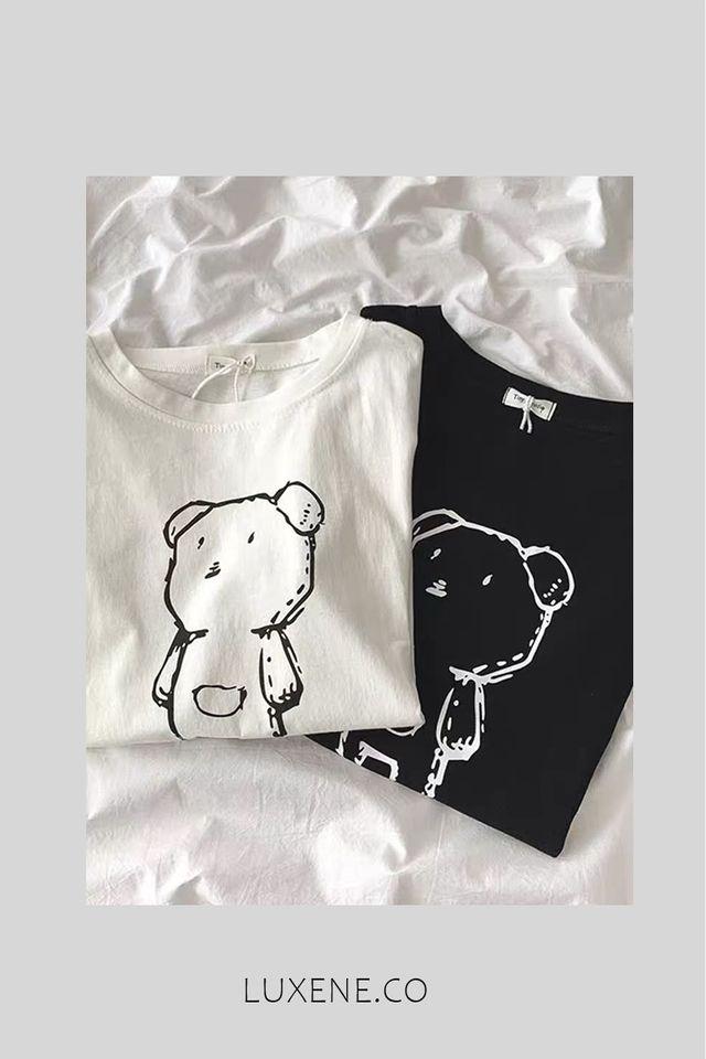 PREORDER - L0240 BEAR T SHIRT BLACK WHITE