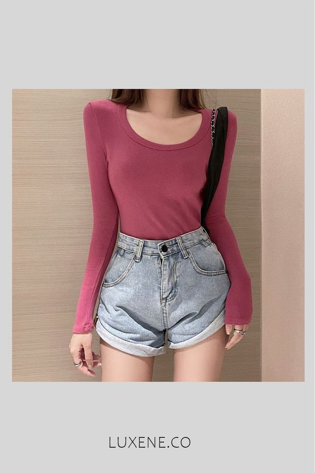 (MSIA) READY STOCK  - L0356 LONG SLEEVE TOP (PINK)