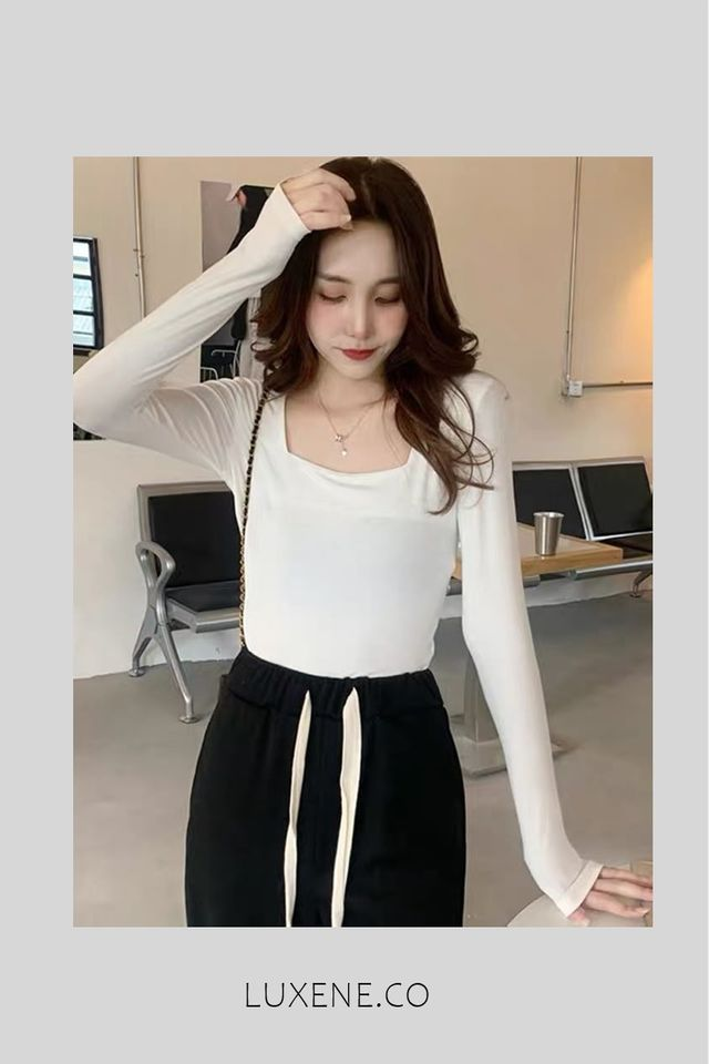 PREORDER - L0407  SQUARE NECK LONG SLEEVE TOP